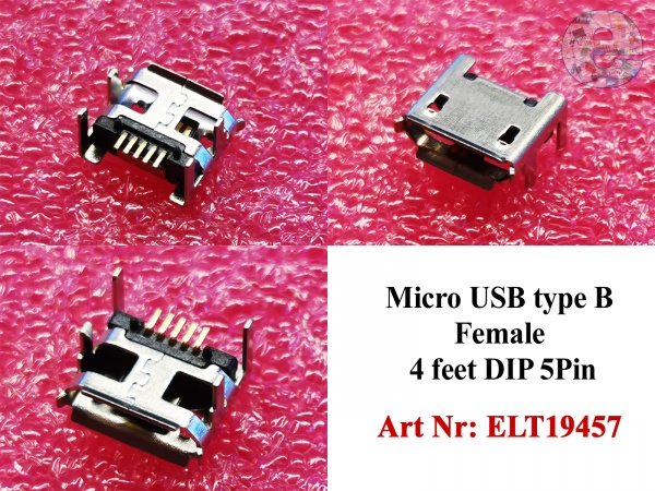 Micro USB type B Female 4 feet DIP 5Pin