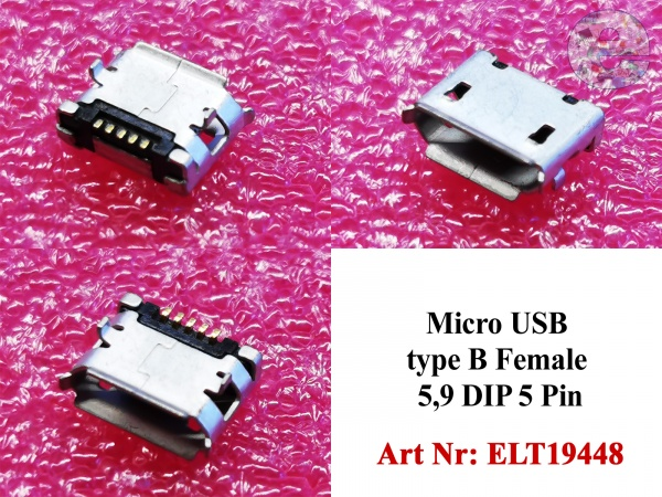 Micro USB type B Female 5,9 DIP 5 Pin