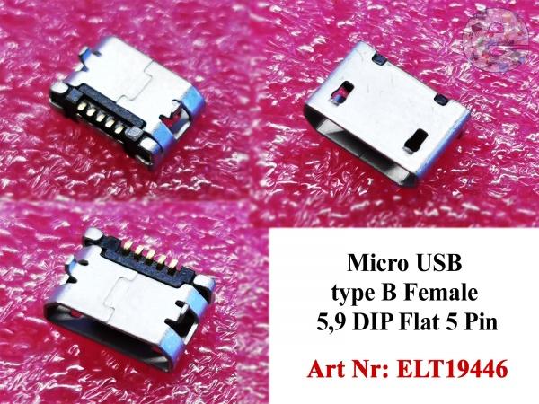 Micro USB type B Female 5,9 DIP Flat 5 Pin