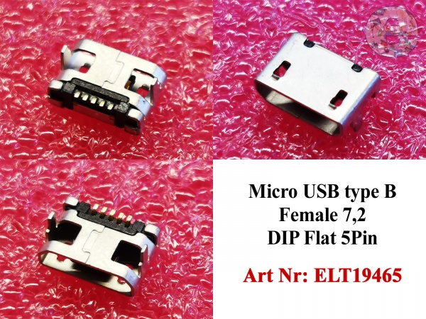 Micro USB type B Female 7,2 DIP Flat 5Pin