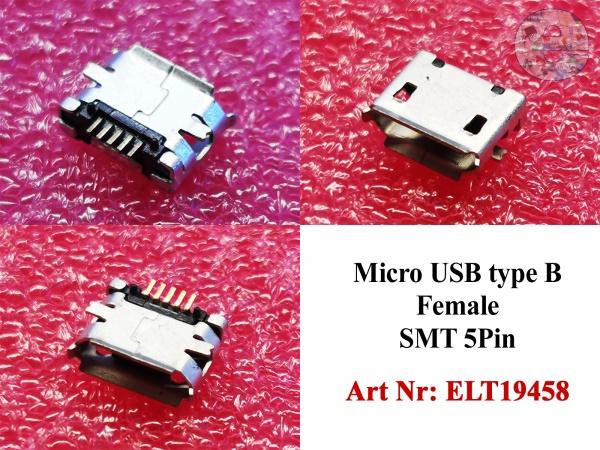 Micro USB type B Female SMT 5Pin