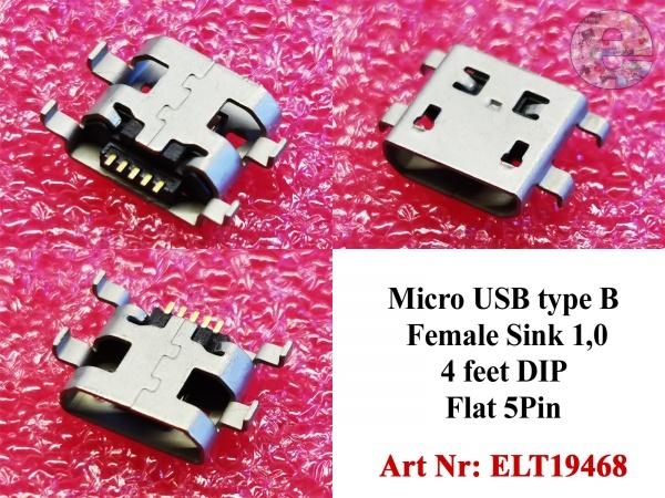 Micro USB type B Female Sink 1,0 4 feet DIP Flat 5Pin