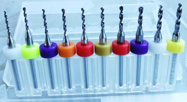 Hartmetallbohrer (PCB Bohrer) 10er Set 1,1 - 2,0 mm