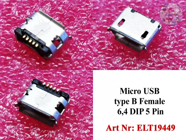Micro USB type B Female 6,4 DIP 5 Pin