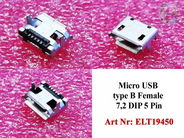 Micro USB type B Female 7,2 DIP 5 Pin