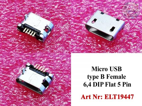 Micro USB type B Female 6,4 DIP Flat 5 Pin