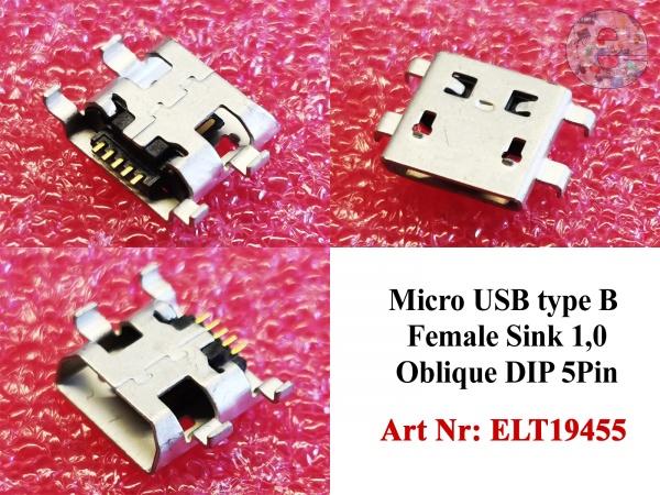 Micro USB type B Female Sink 1,0 Oblique DIP 5Pin