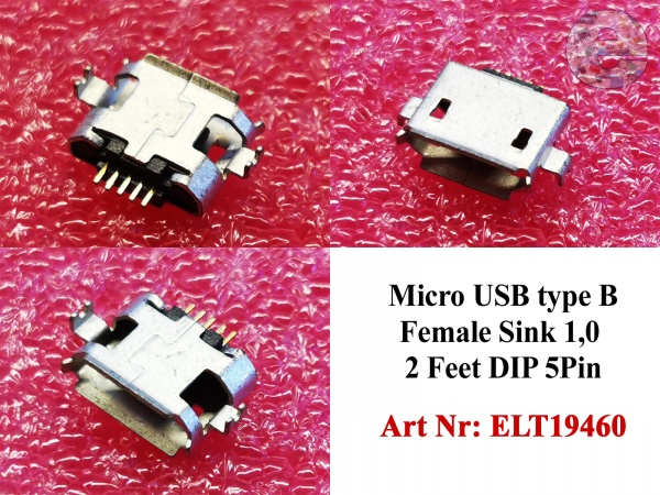 Micro USB type B Female Sink 1,0 2 Feet DIP 5Pin