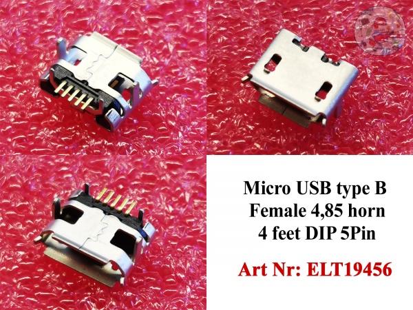 Micro USB type B Female 4,85 Horn 4 feet DIP 5Pin